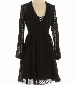 Topshop black casual lace up dress